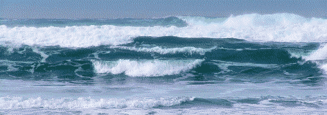 surf and waves rolling in